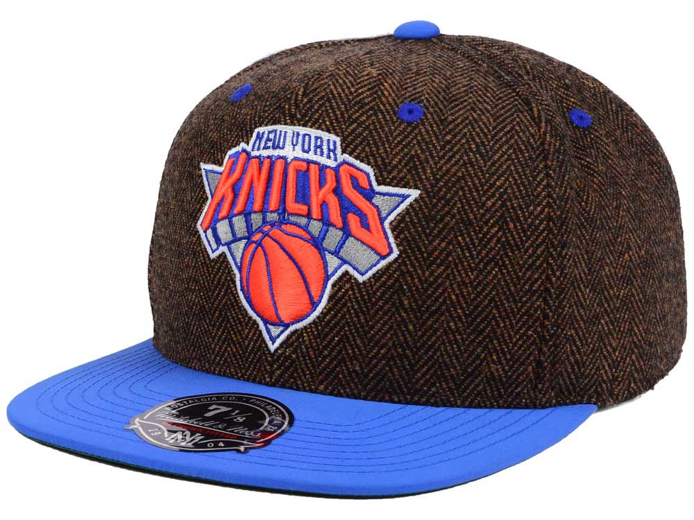 New York Knicks Mitchell   Ness NBA Donegal Tweed Fitted Cap  13e26ceb7d5