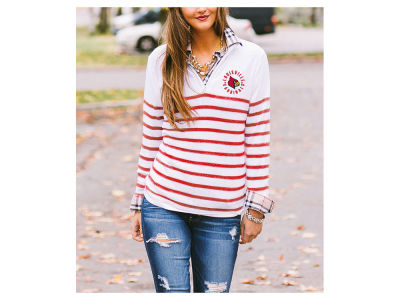 Louisville Cardinals Gameday Couture NCAA Women's Striped Lurex Quarter Zip Pullover