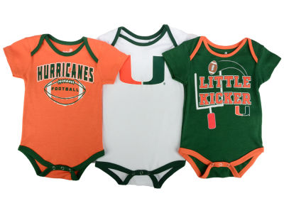 Miami Hurricanes NCAA Newborn 3 Points 3-Piece Creeper Set