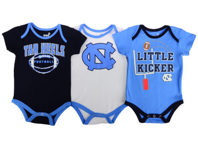 North Carolina Tar Heels NCAA Newborn 3 Points 3-Piece Creeper Set