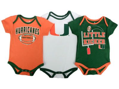 Miami Hurricanes Outerstuff NCAA Infant 3 Points 3-Piece Creeper Set