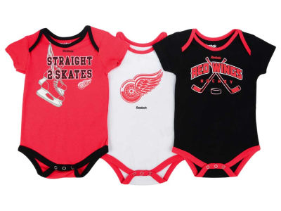Detroit Red Wings adidas NHL Newborn Hat Trick Creeper Set