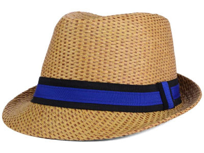 LIDS Private Label Contrast Straw Fedora Trilby