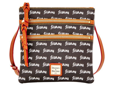 Miami Marlins Dooney & Bourke Triple Zip Crossbody Bag