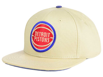 Detroit Pistons Pro Standard NBA Cream Leather Strapback Cap