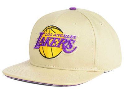 Los Angeles Lakers Pro Standard NBA Cream Leather Strapback Cap