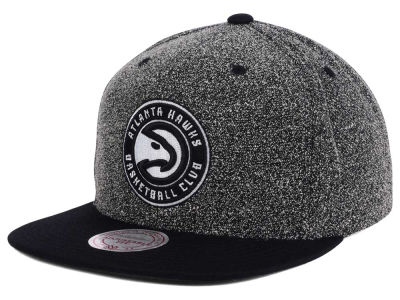 Atlanta Hawks Mitchell & Ness NBA Black White Static Logo Snapback Cap