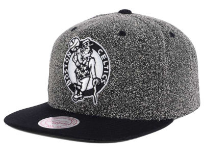 Boston Celtics Mitchell and Ness NBA Black White Static Logo Snapback Cap