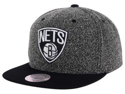 Brooklyn Nets Mitchell and Ness NBA Black White Static Logo Snapback Cap