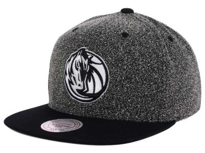 Dallas Mavericks Mitchell & Ness NBA Black White Static Logo Snapback Cap