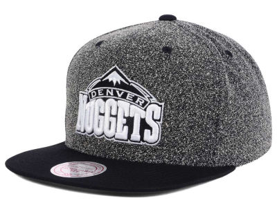 Denver Nuggets Mitchell and Ness NBA Black White Static Logo Snapback Cap