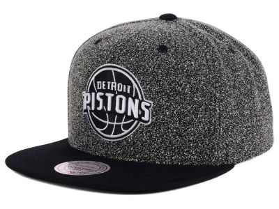 Detroit Pistons Mitchell and Ness NBA Black White Static Logo Snapback Cap