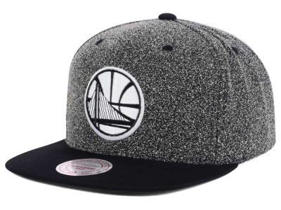 Golden State Warriors Mitchell and Ness NBA Black White Static Logo Snapback Cap
