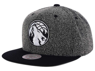 Minnesota Timberwolves Mitchell and Ness NBA Black White Static Logo Snapback Cap