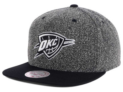 Oklahoma City Thunder Mitchell and Ness NBA Black White Static Logo Snapback Cap