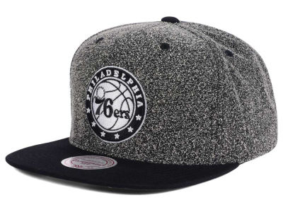 Philadelphia 76ers Mitchell and Ness NBA Black White Static Logo Snapback Cap