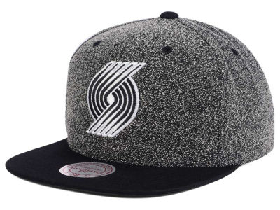 Portland Trail Blazers Mitchell and Ness NBA Black White Static Logo Snapback Cap