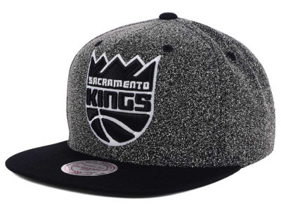 Sacramento Kings Mitchell and Ness NBA Black White Static Logo Snapback Cap
