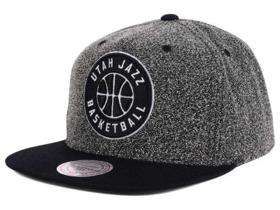 Utah Jazz Mitchell and Ness NBA Black White Static Logo Snapback Cap