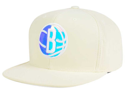 Brooklyn Nets Mitchell and Ness NBA White Iridescent Snapback Cap