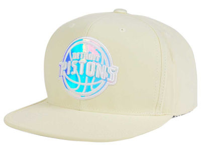 Detroit Pistons Mitchell and Ness NBA White Iridescent Snapback Cap