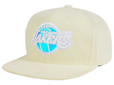 Los Angeles Lakers Mitchell and Ness NBA White Iridescent Snapback Cap