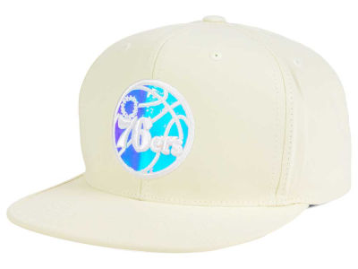 Philadelphia 76ers Mitchell and Ness NBA White Iridescent Snapback Cap