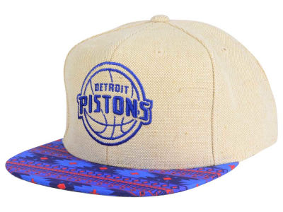Detroit Pistons Mitchell & Ness NBA Hemp Crown 2.0 Strapback Cap