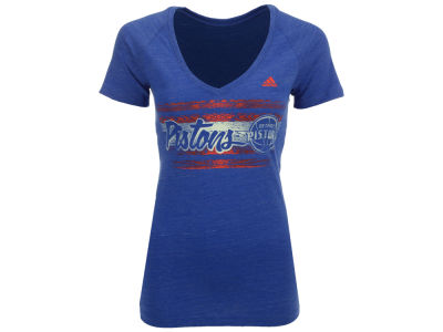 Detroit Pistons adidas NBA Women's Woodgrain Stripe T-Shirt