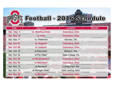 Ohio State Buckeyes 2016 Football Schedule Magnet
