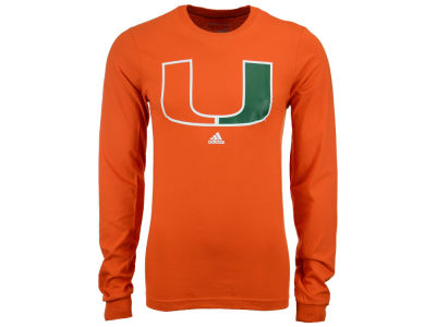 Miami Hurricanes adidas NCAA Men's School Logo Long Sleeve T-Shirt