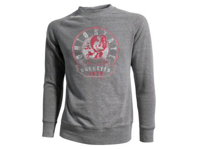 Ohio State Buckeyes NCAA Men's Brutus Circle Vintage Fleece Crew Long Sleeve T-Shirt