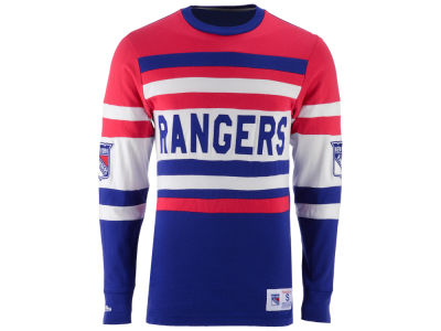 New York Rangers Mitchell and Ness NHL Men's Open Net Long Sleeve Jersey T-Shirt