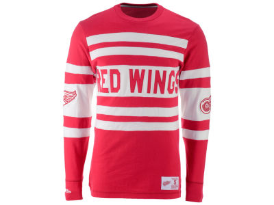 Detroit Red Wings Mitchell and Ness NHL Men's Open Net Long Sleeve Jersey T-Shirt
