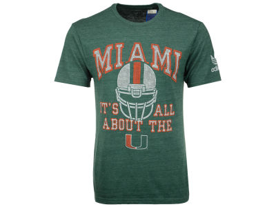 Miami Hurricanes adidas NCAA Men's The Helmet And U Triblend T-Shirt