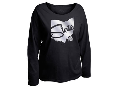 Ohio State Buckeyes NCAA Women's Curves Foil State Long Sleeve T-Shirt