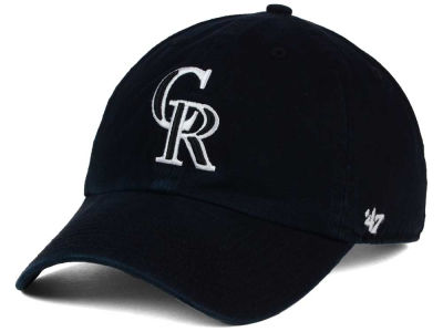 Colorado Rockies '47 MLB Black White Black '47 CLEAN UP Cap
