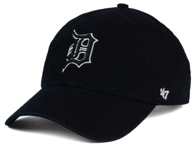 Detroit Tigers '47 MLB Black White Black '47 CLEAN UP Cap