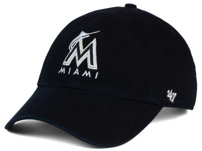 Miami Marlins '47 MLB Black White '47 Clean Up Cap