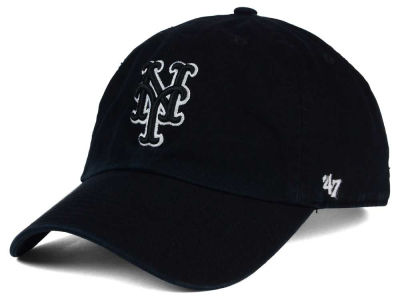 New York Mets '47 MLB Black White '47 Clean Up Cap