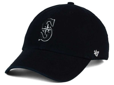Seattle Mariners '47 MLB Black White Black '47 CLEAN UP Cap