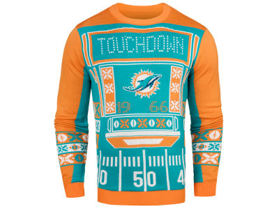 Miami Dolphins NFL Men's Light Up Ugly Crew Neck Sweater