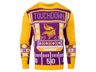 Minnesota Vikings NFL Men's Light Up Ugly Crew Neck Sweater