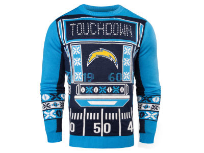 San Diego Chargers NFL Men's Light Up Ugly Crew Neck Sweater