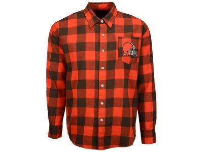 Cleveland Browns NFL Men's Large Check Flannel Button Down Shirt