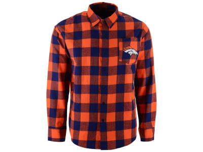 Denver Broncos NFL Men's Large Check Flannel Button Down Shirt