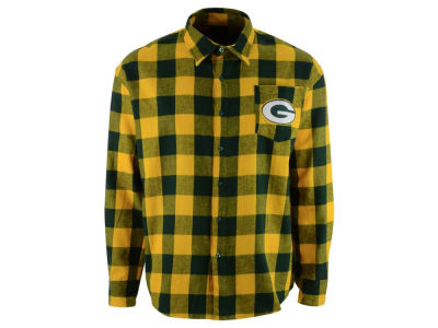Green Bay Packers NFL Men's Large Check Flannel Button Down Shirt