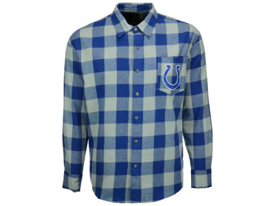 Indianapolis Colts NFL Men's Large Check Flannel Button Down Shirt