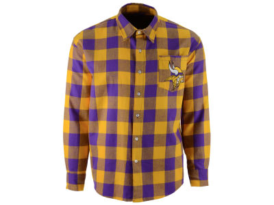 Minnesota Vikings NFL Men's Large Check Flannel Button Down Shirt