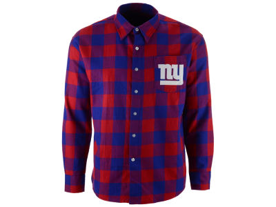 New York Giants NFL Men's Large Check Flannel Button Down Shirt
